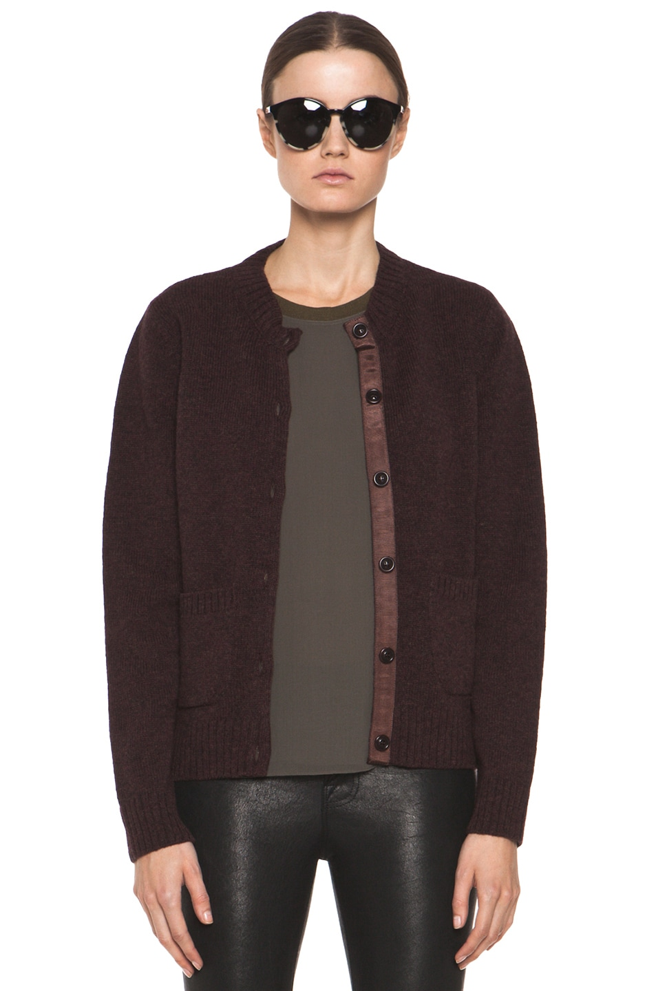 Image 1 of A.P.C. Cardigan in Bordeaux Chine