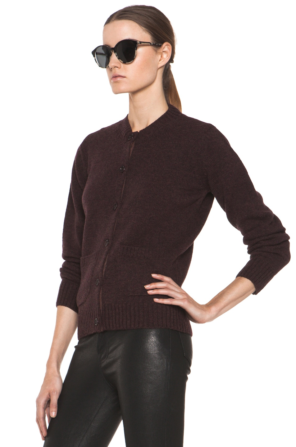 Image 3 of A.P.C. Cardigan in Bordeaux Chine
