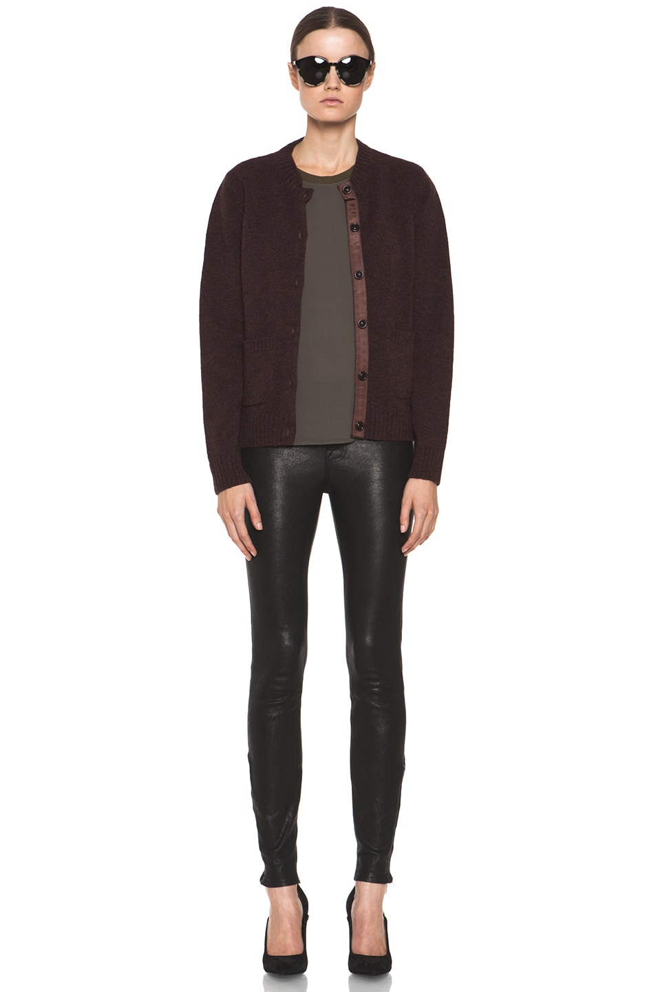 Image 6 of A.P.C. Cardigan in Bordeaux Chine