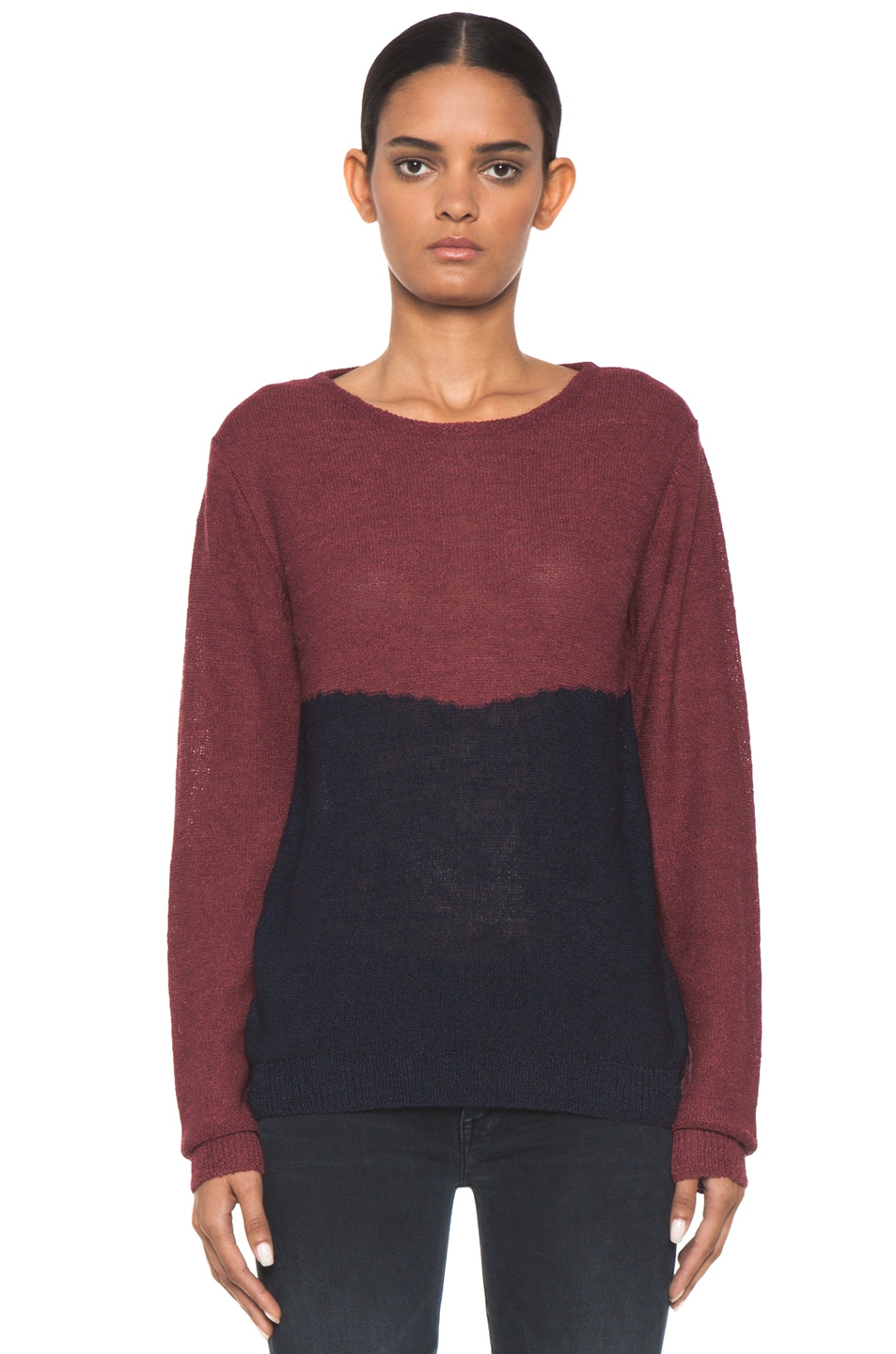 Image 1 of A.P.C. Colorblock Sweater in Framboise