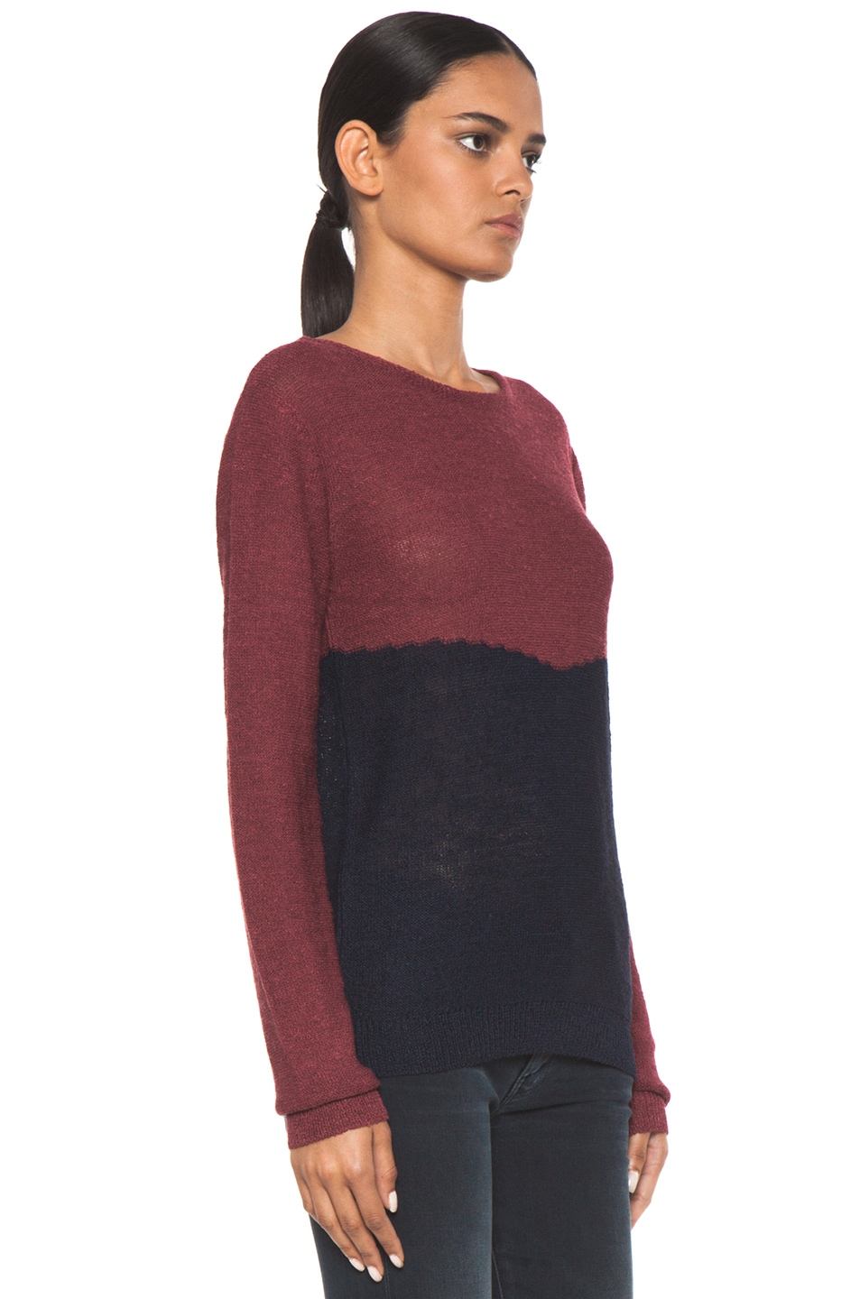 Image 3 of A.P.C. Colorblock Sweater in Framboise