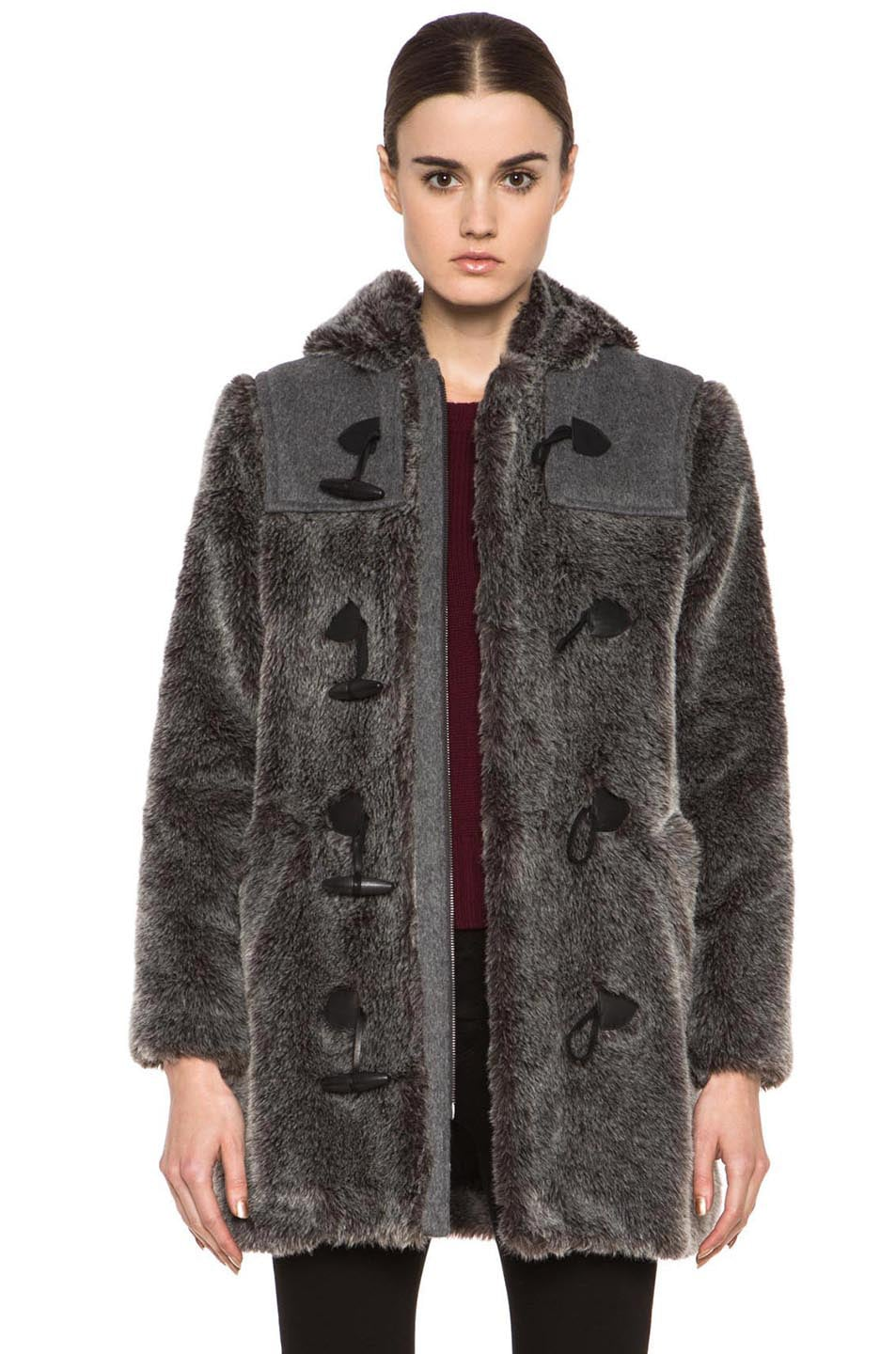 Image 1 of A.P.C. Faux Fur Duffel Coat in Grey