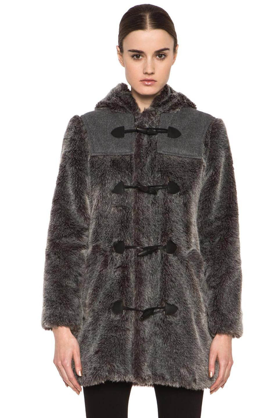 Image 2 of A.P.C. Faux Fur Duffel Coat in Grey