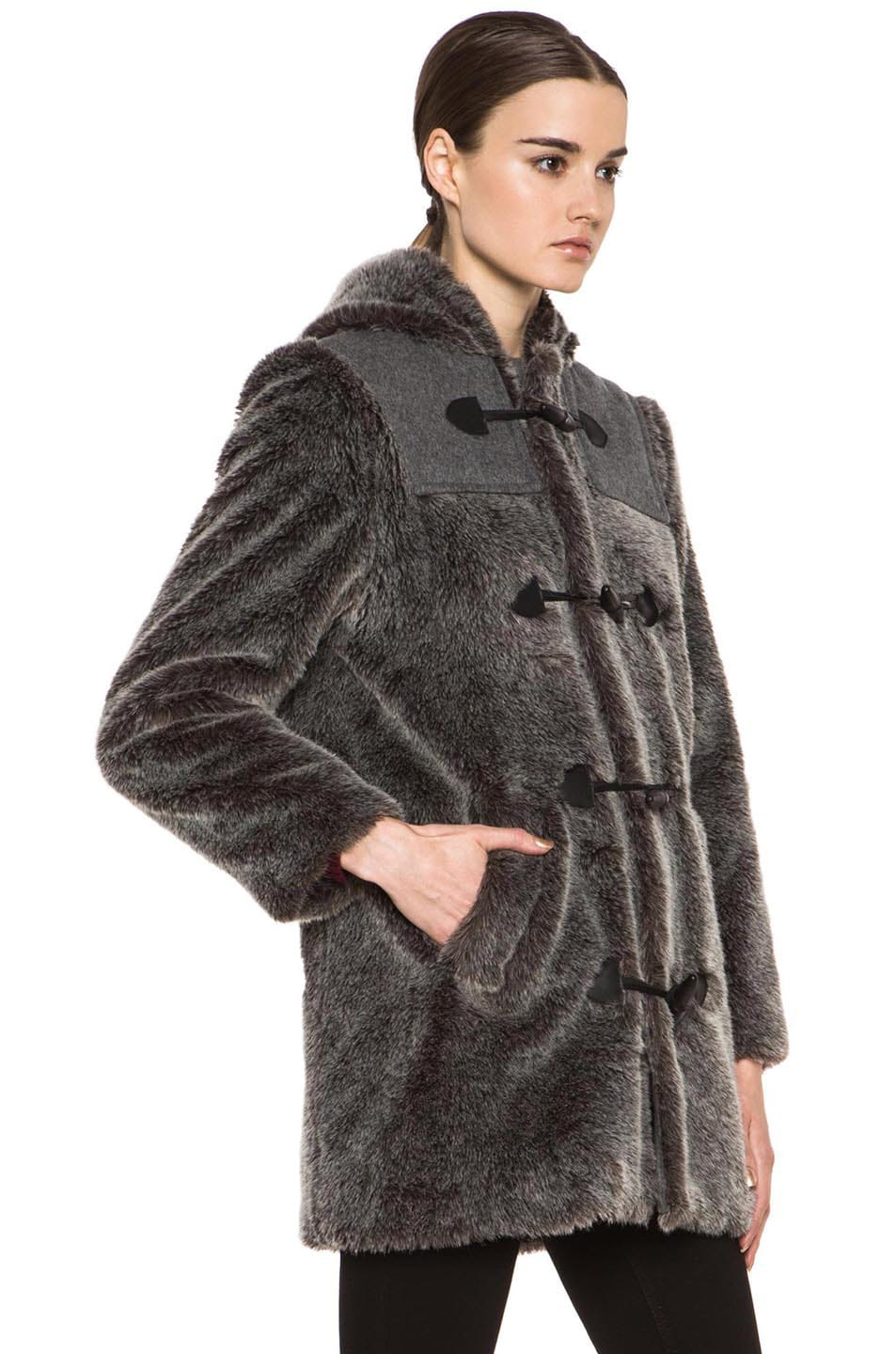 Image 4 of A.P.C. Faux Fur Duffel Coat in Grey