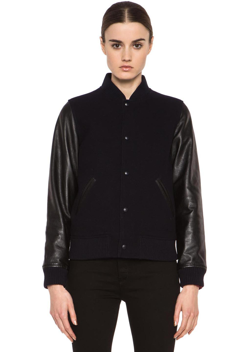 Image 2 of A.P.C. Teddy Rizzo Wool-Blend Leather Baseball Jacket in Dark Navy