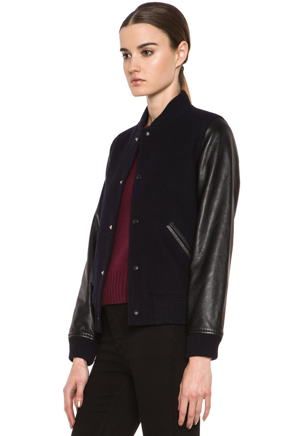 Image 3 of A.P.C. Teddy Rizzo Wool-Blend Leather Baseball Jacket in Dark Navy