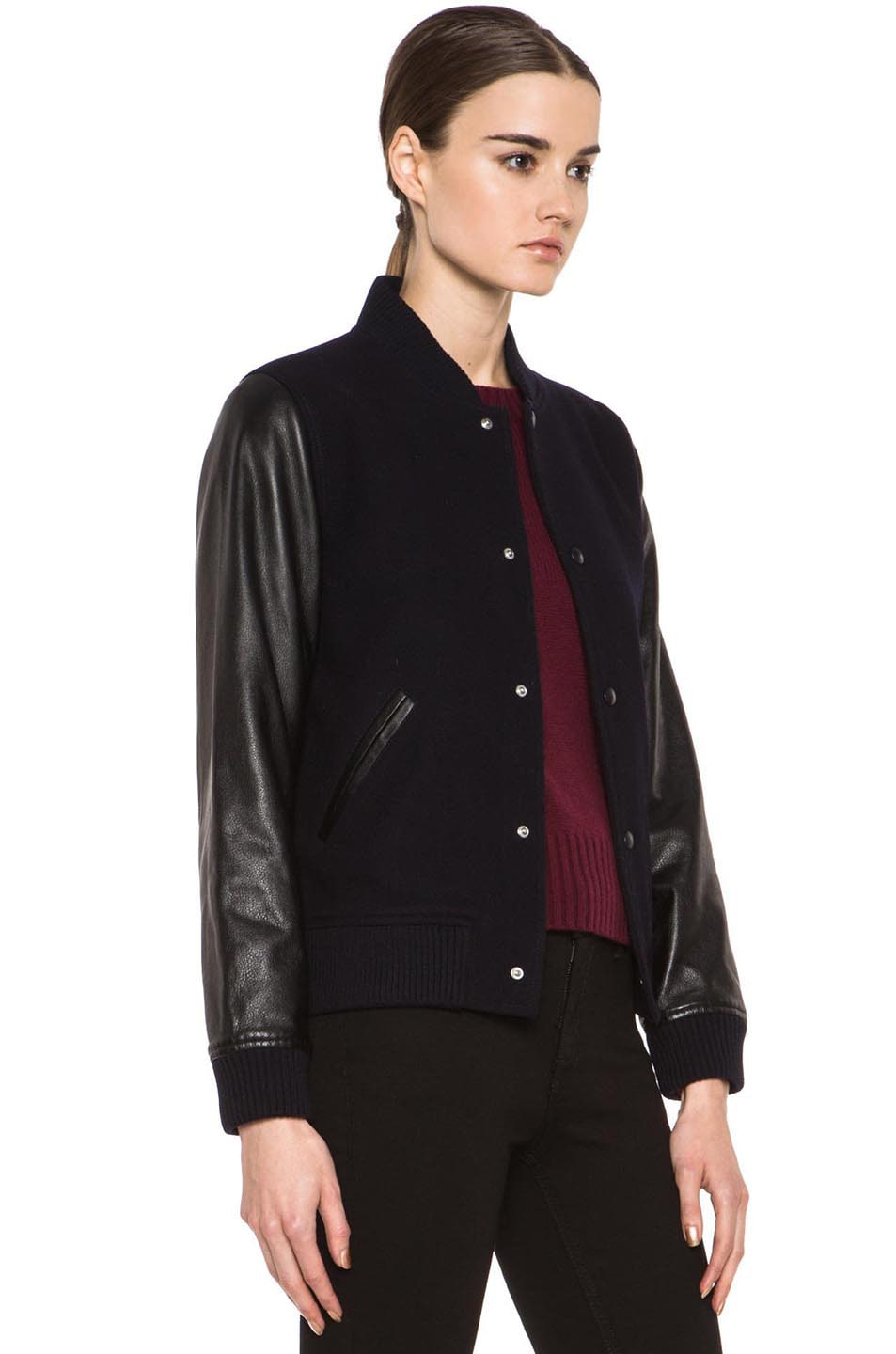 Image 4 of A.P.C. Teddy Rizzo Wool-Blend Leather Baseball Jacket in Dark Navy