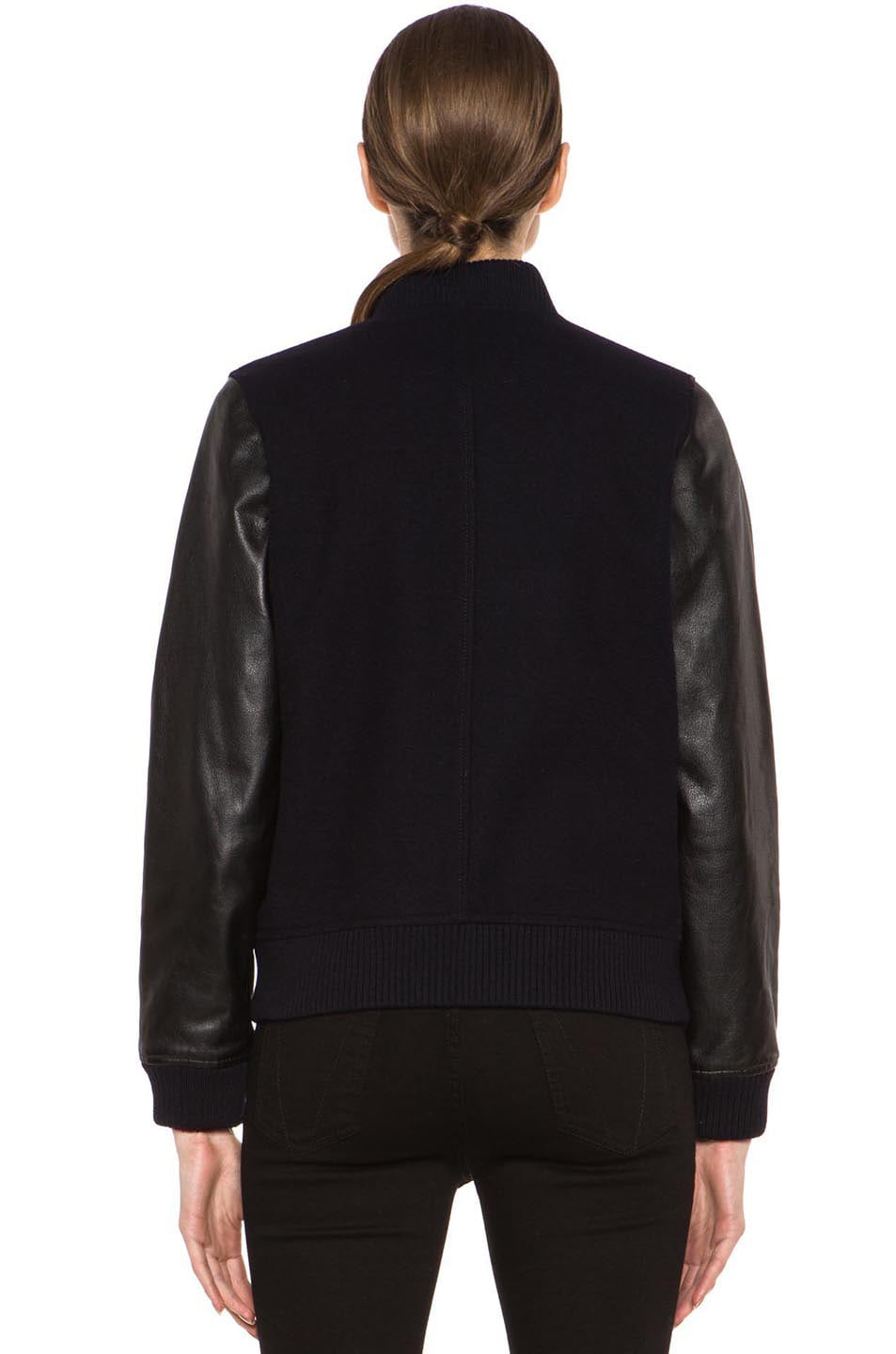 Image 5 of A.P.C. Teddy Rizzo Wool-Blend Leather Baseball Jacket in Dark Navy