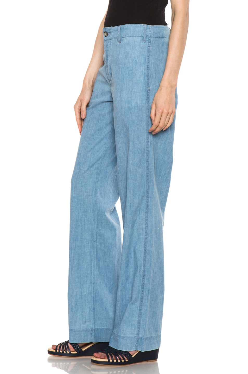 Image 2 of A.P.C. Chambray Chic Pant in Bleu