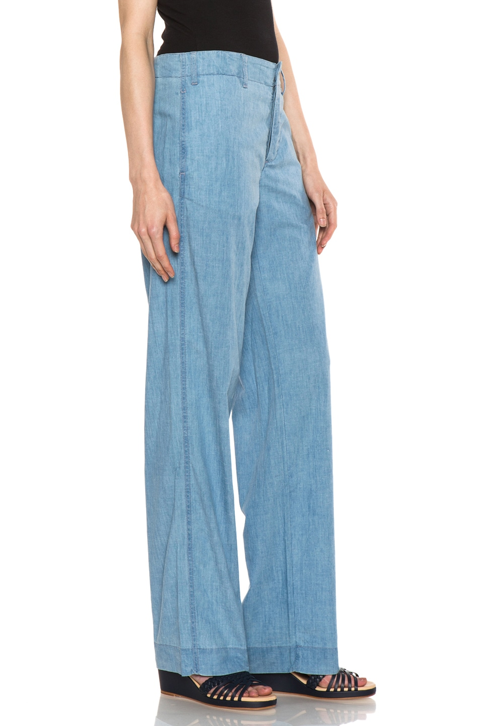 Image 3 of A.P.C. Chambray Chic Pant in Bleu
