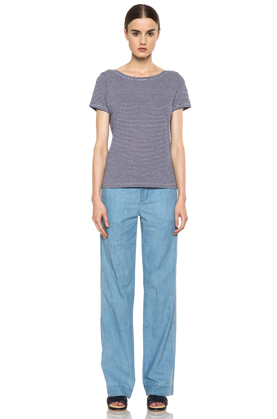 Image 5 of A.P.C. Chambray Chic Pant in Bleu