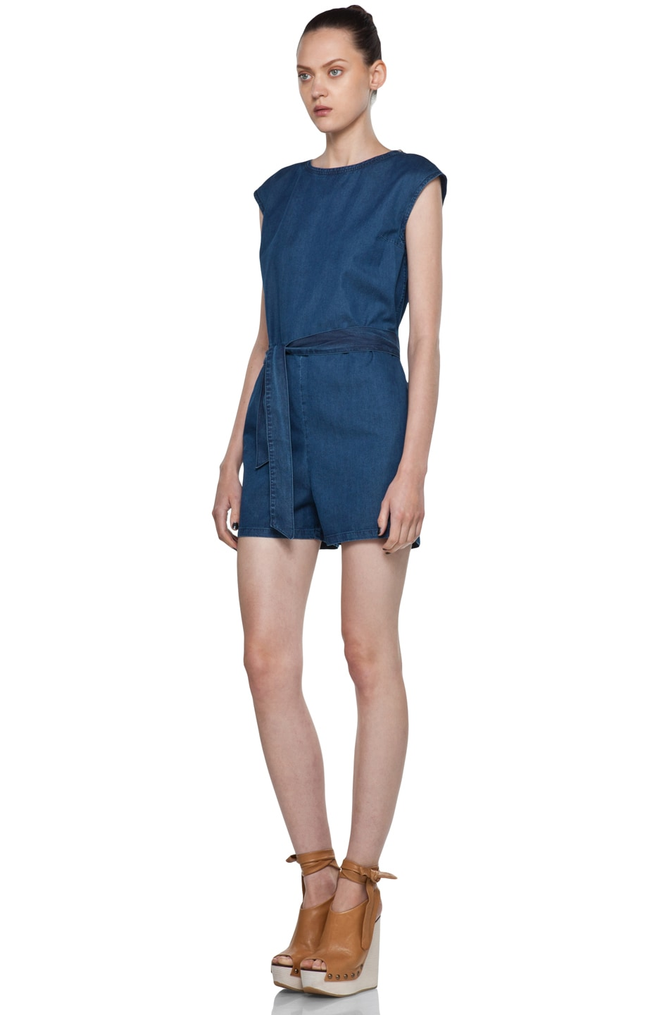 Image 2 of A.P.C. Denim Wash Cap Sleeve Romper in Bleu Acier