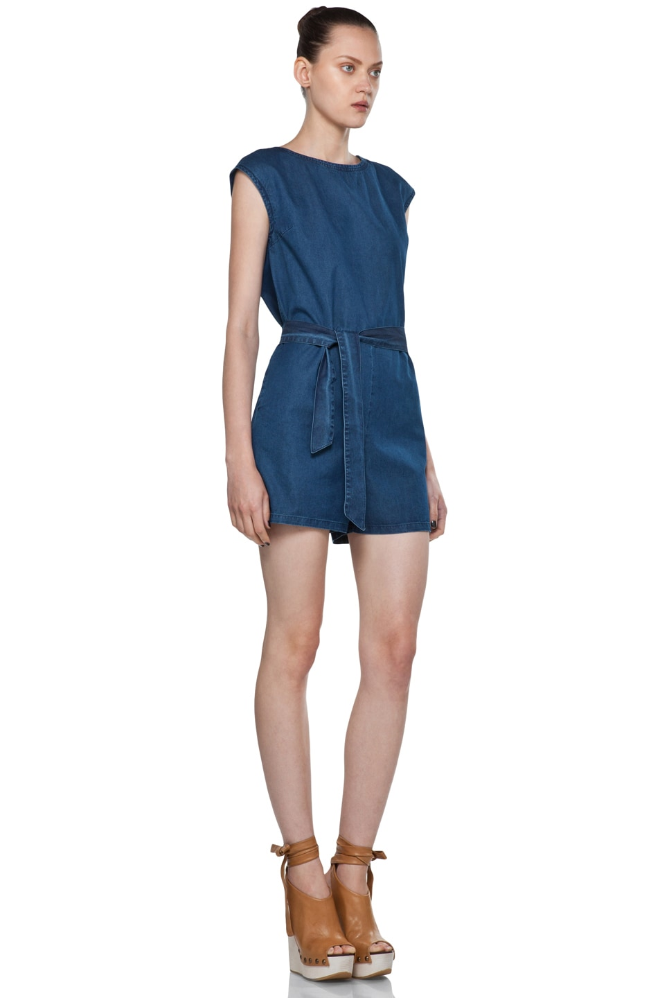 Image 3 of A.P.C. Denim Wash Cap Sleeve Romper in Bleu Acier
