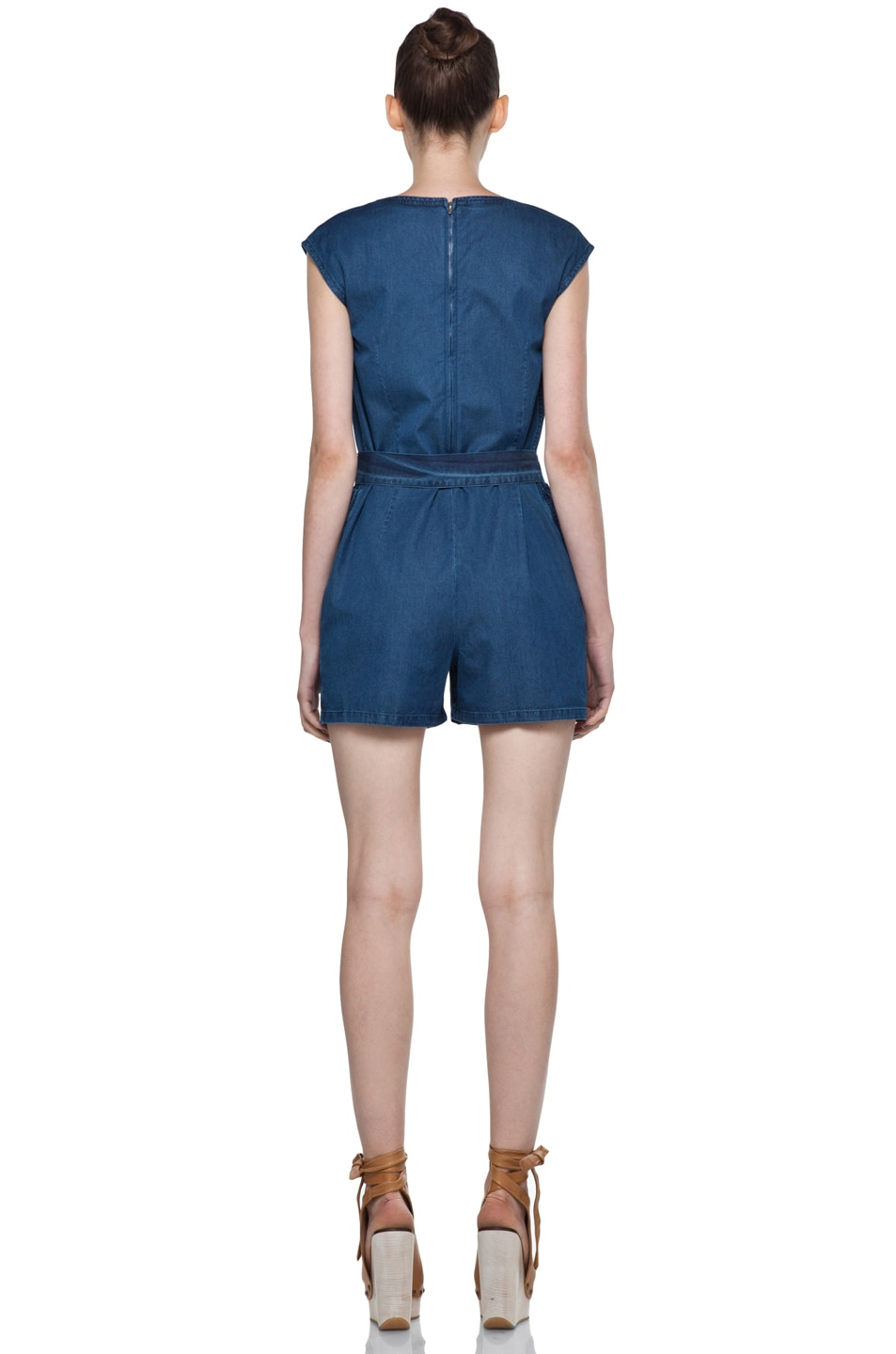 Image 4 of A.P.C. Denim Wash Cap Sleeve Romper in Bleu Acier