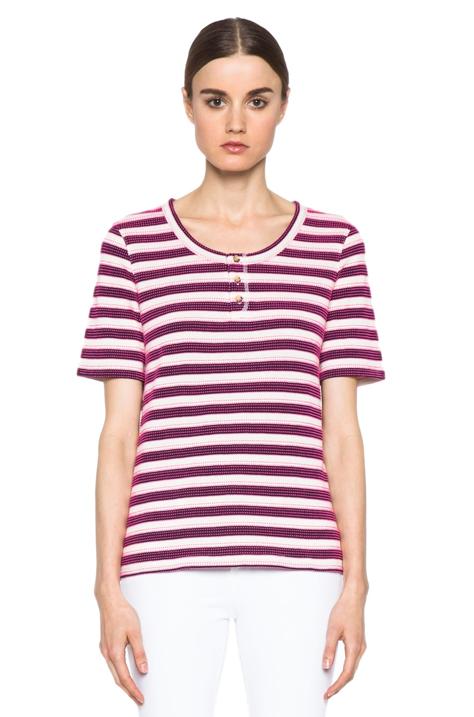Image 1 of A.P.C. Jersey Jacquard Tunisien 70 Tops in Marine