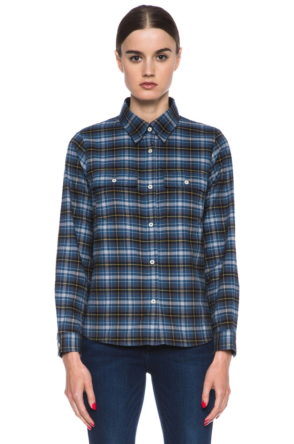 Image 1 of A.P.C. Plaid Cotton Button-Down in Marine