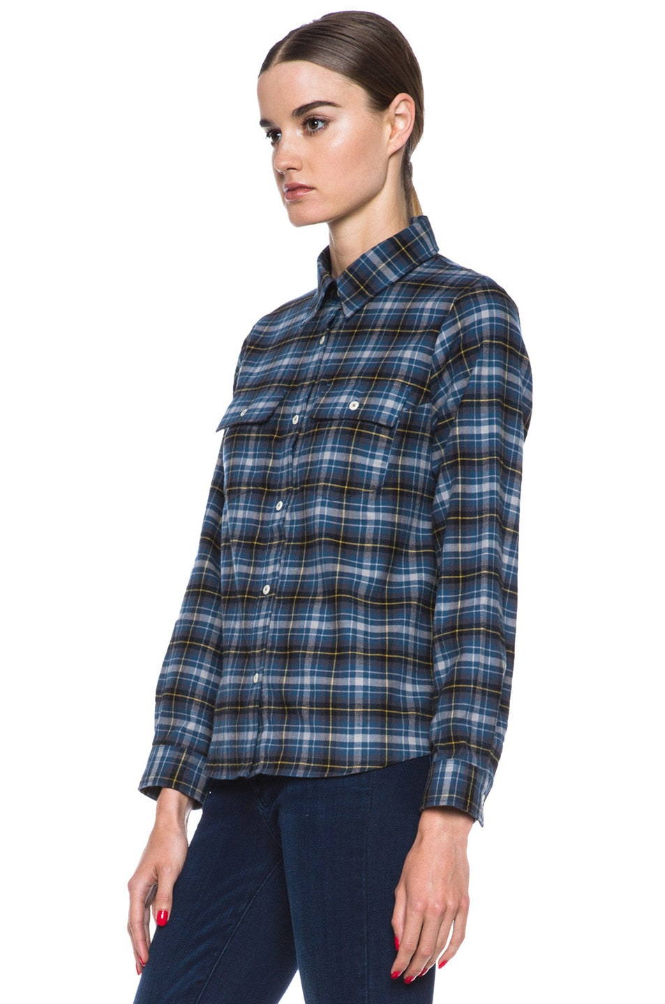Image 2 of A.P.C. Plaid Cotton Button-Down in Marine