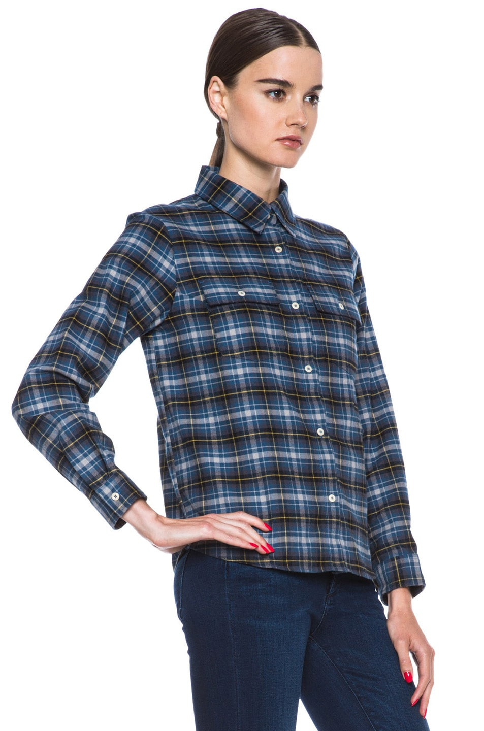 Image 3 of A.P.C. Plaid Cotton Button-Down in Marine