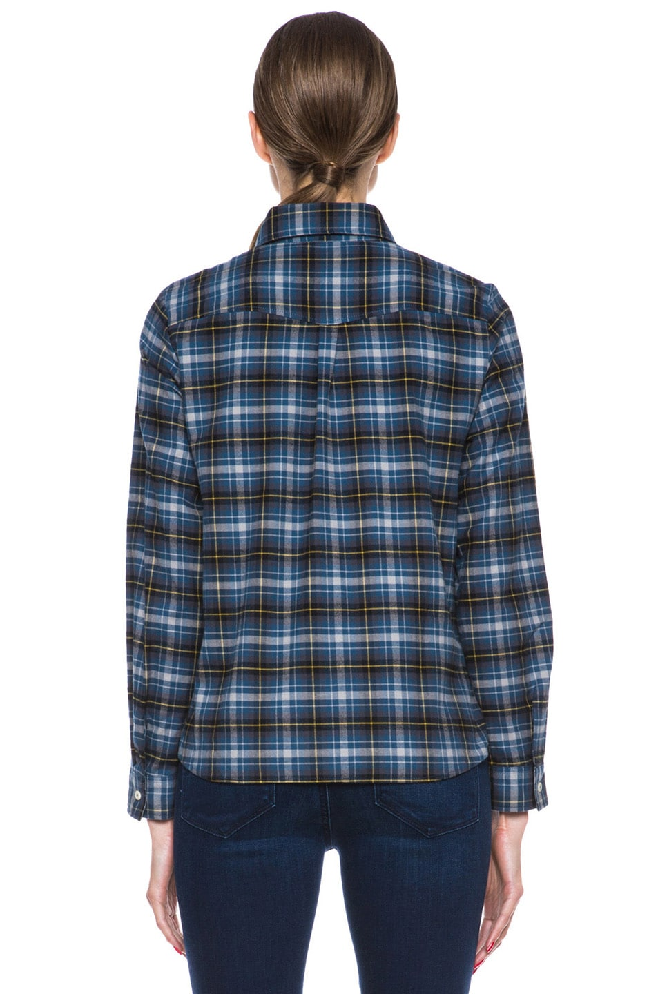 Image 4 of A.P.C. Plaid Cotton Button-Down in Marine