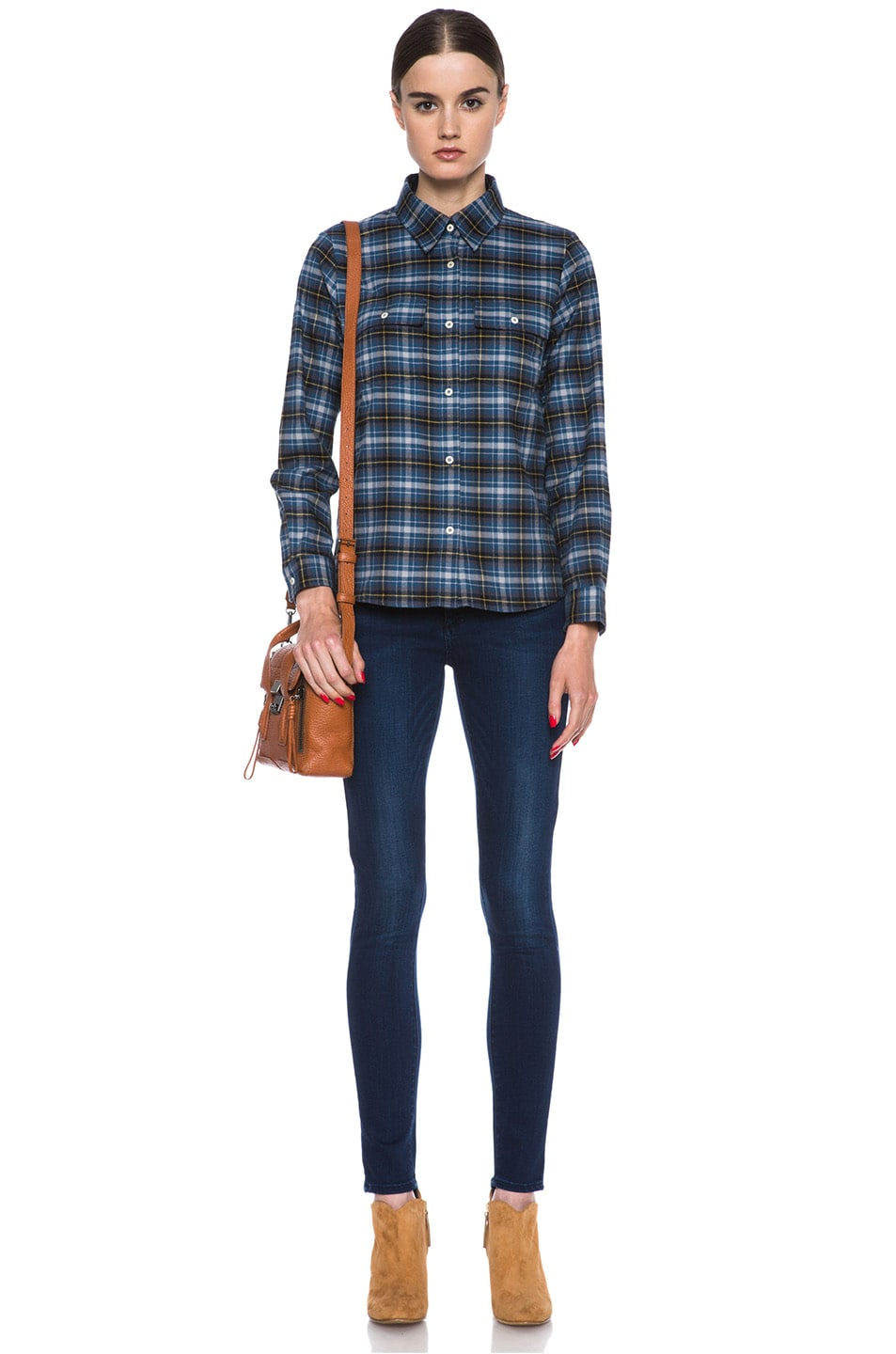 Image 5 of A.P.C. Plaid Cotton Button-Down in Marine