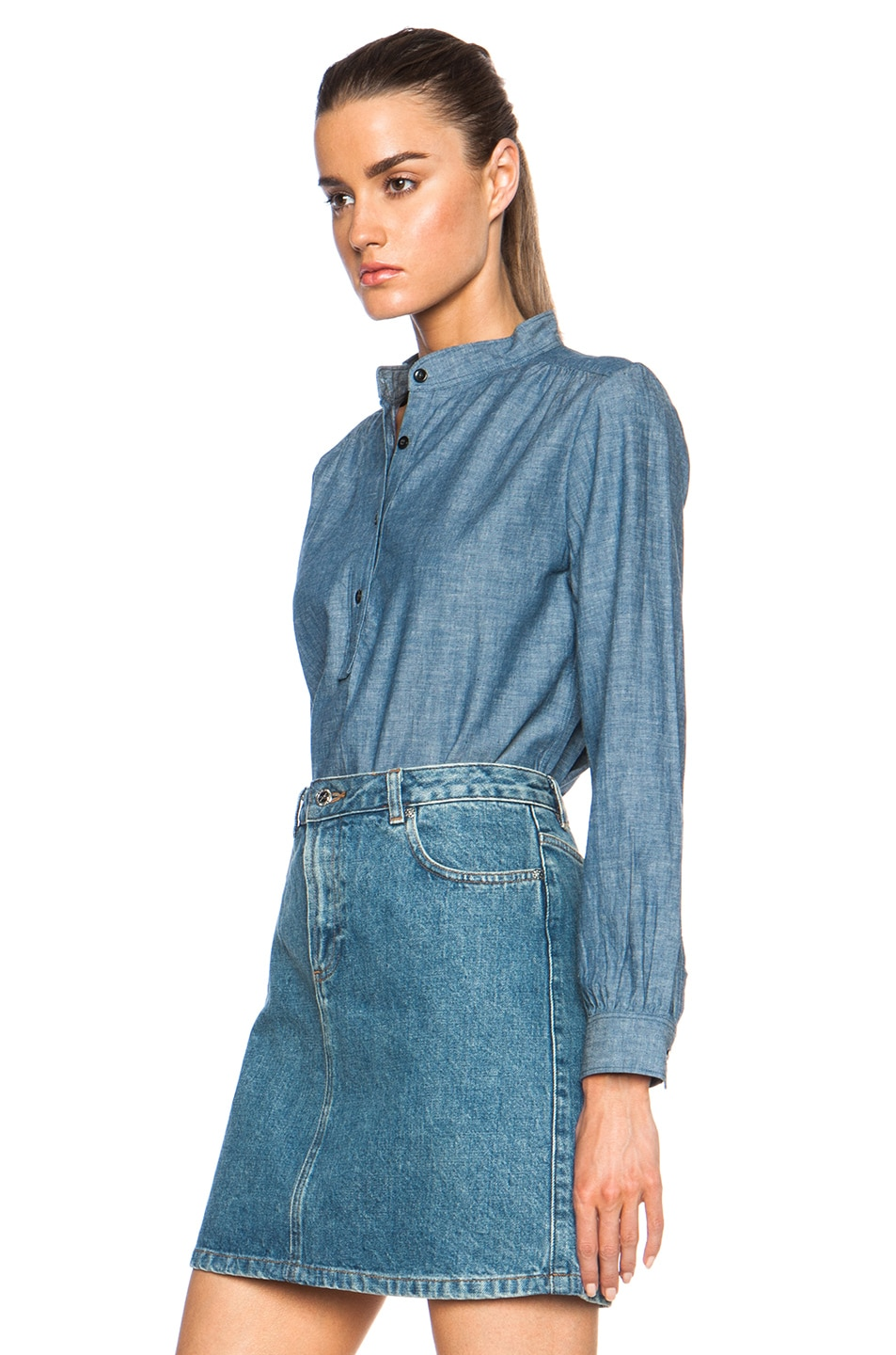 Image 2 of A.P.C. Sally Chambray Blouse in Indigo Delave