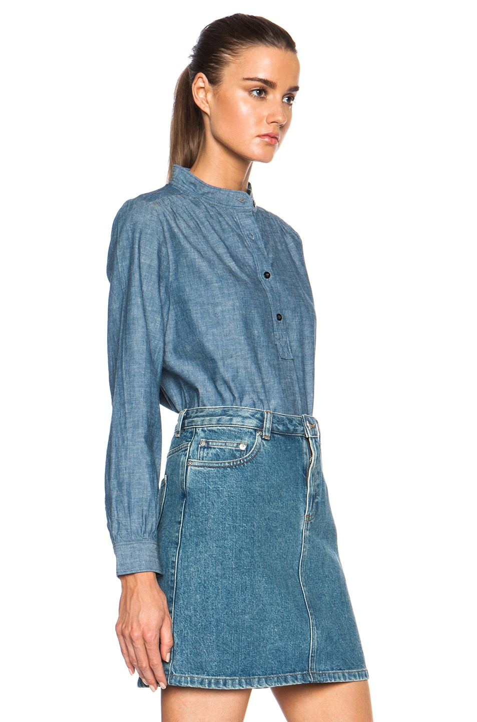 Image 3 of A.P.C. Sally Chambray Blouse in Indigo Delave