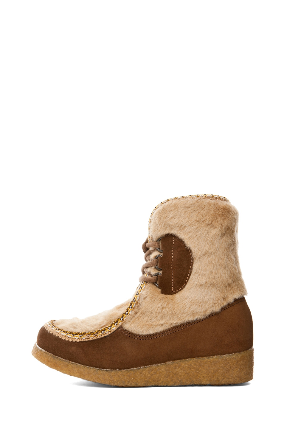 Image 1 of A.P.C. Veau Velours Moccasin Fur Boot in Noisette