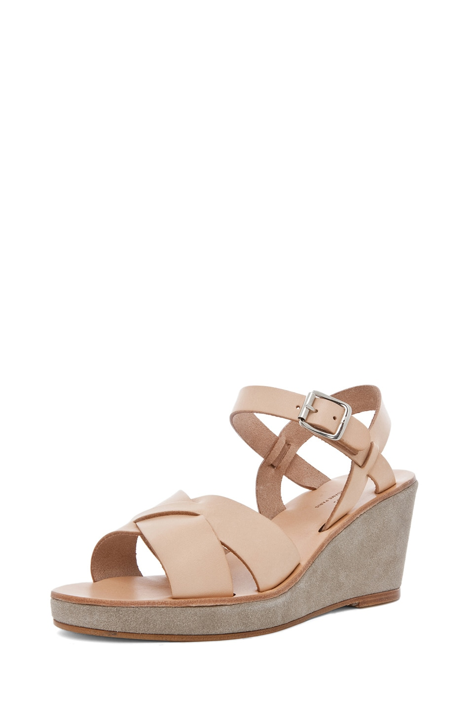 Image 2 of A.P.C. Criss Cros Wedge Sandal in Beige Naturel