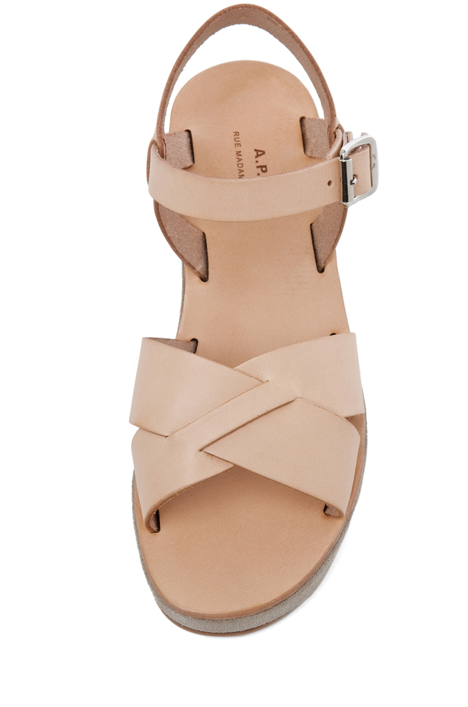 Image 4 of A.P.C. Criss Cros Wedge Sandal in Beige Naturel