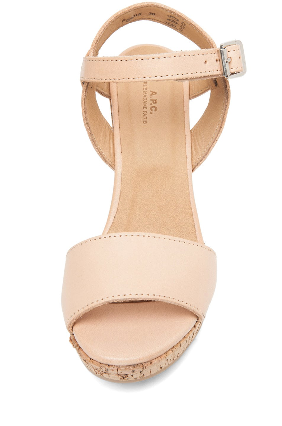Image 4 of A.P.C. Lisse Calfskin Leather Sandals in Beige Rose