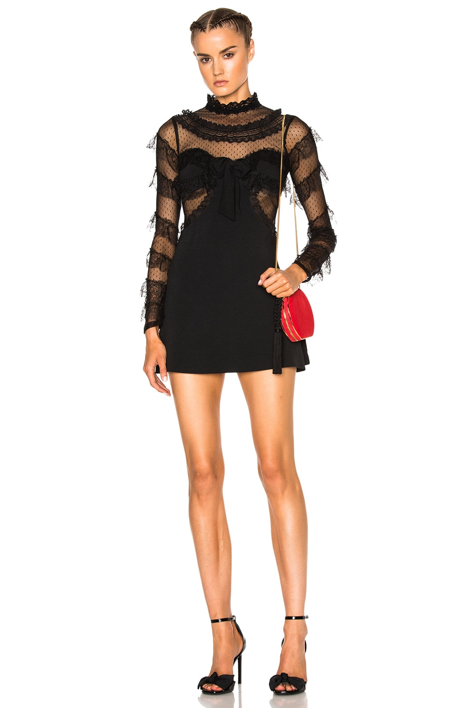 Image 1 of Alessandra Rich Cady & Feathers Dress in Black