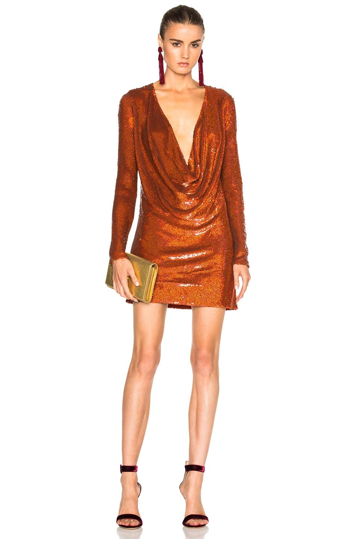 Image 1 of Ashish Drape Front Mini Dress in Titan Copper
