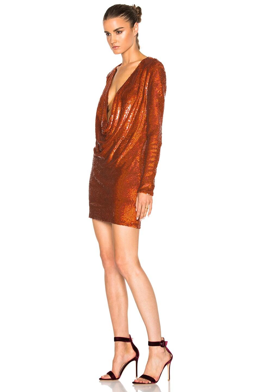 Image 2 of Ashish Drape Front Mini Dress in Titan Copper