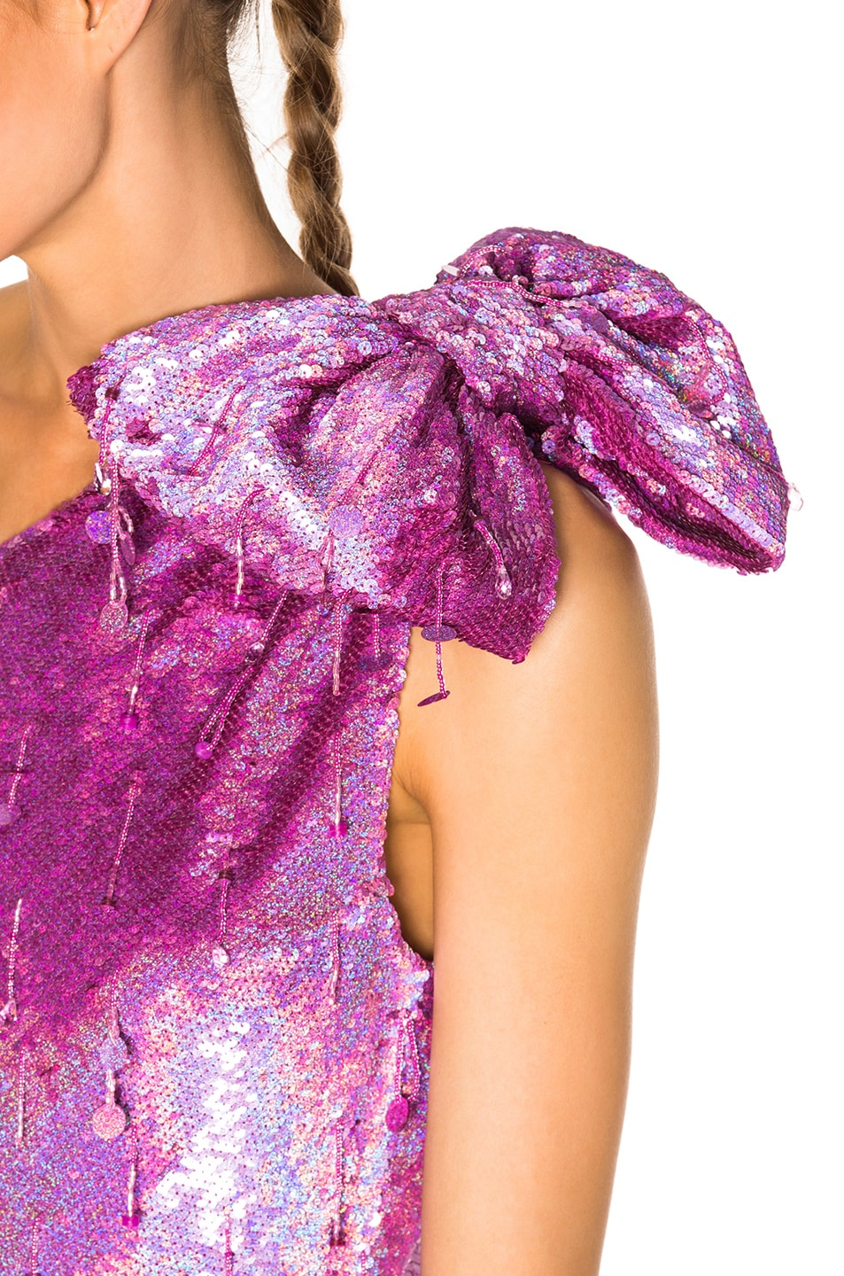 Image 5 of Ashish Shoulder Bow Dress in Pink Pound