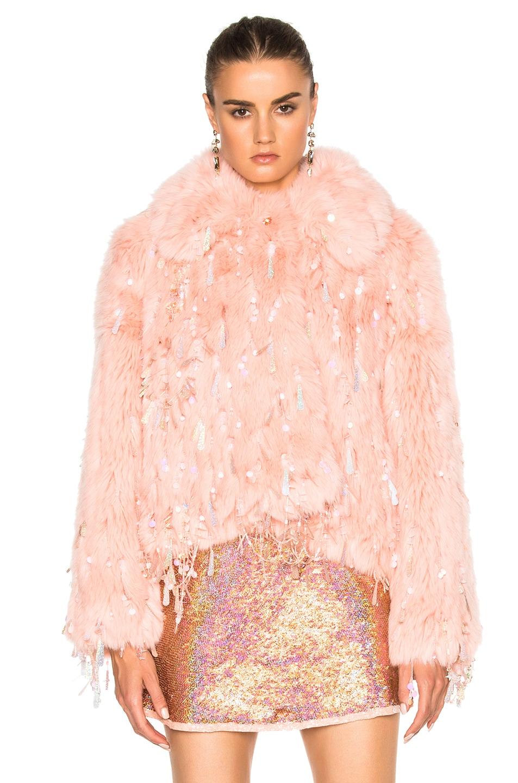 Image 2 of Ashish Faux Fur Dangle Jacket in Peach