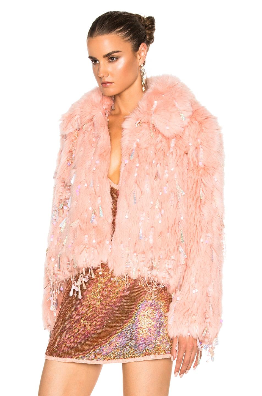 Image 3 of Ashish Faux Fur Dangle Jacket in Peach