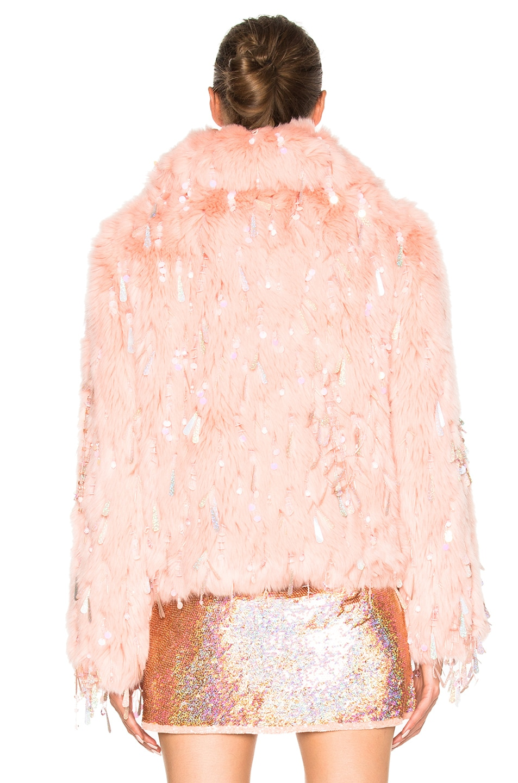 Image 5 of Ashish Faux Fur Dangle Jacket in Peach