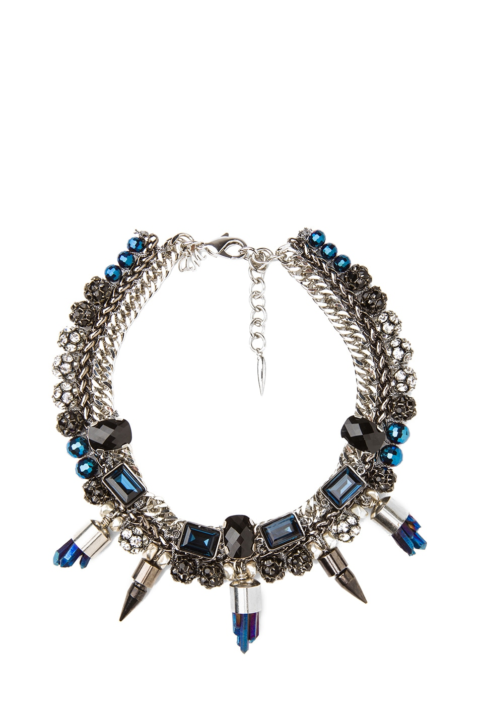 Image 1 of Assad Mounser Eno Rhodium Plated Collar Necklace in Navy