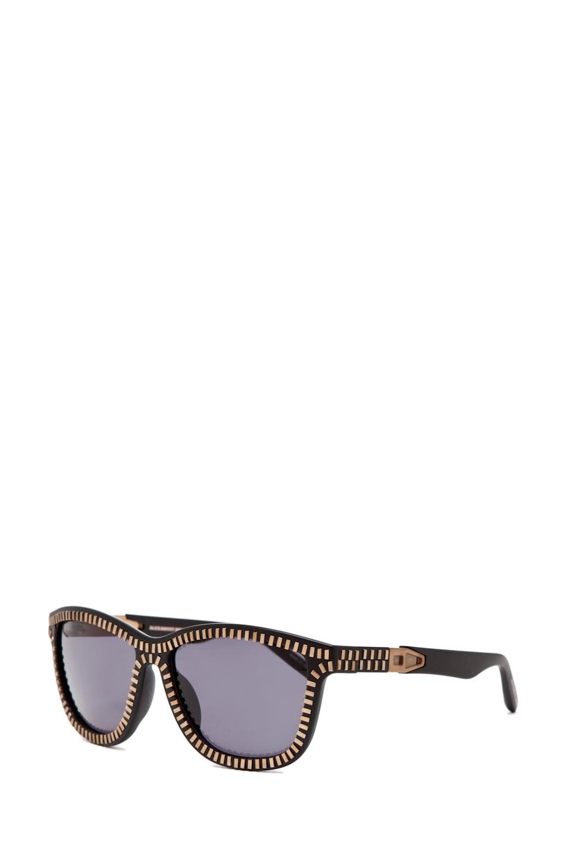 Image 2 of Alexander Wang Zipper Sunglasses in Matte Black/Brass