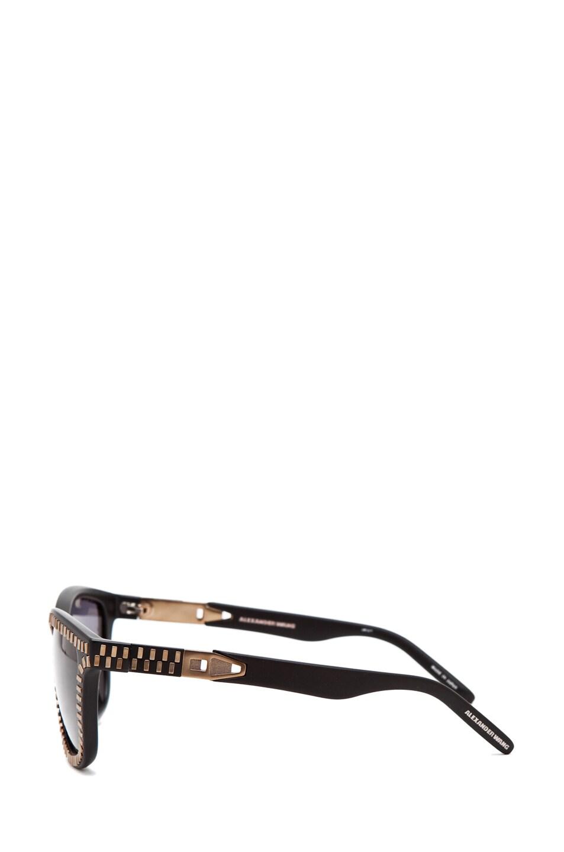 Image 3 of Alexander Wang Zipper Sunglasses in Matte Black/Brass