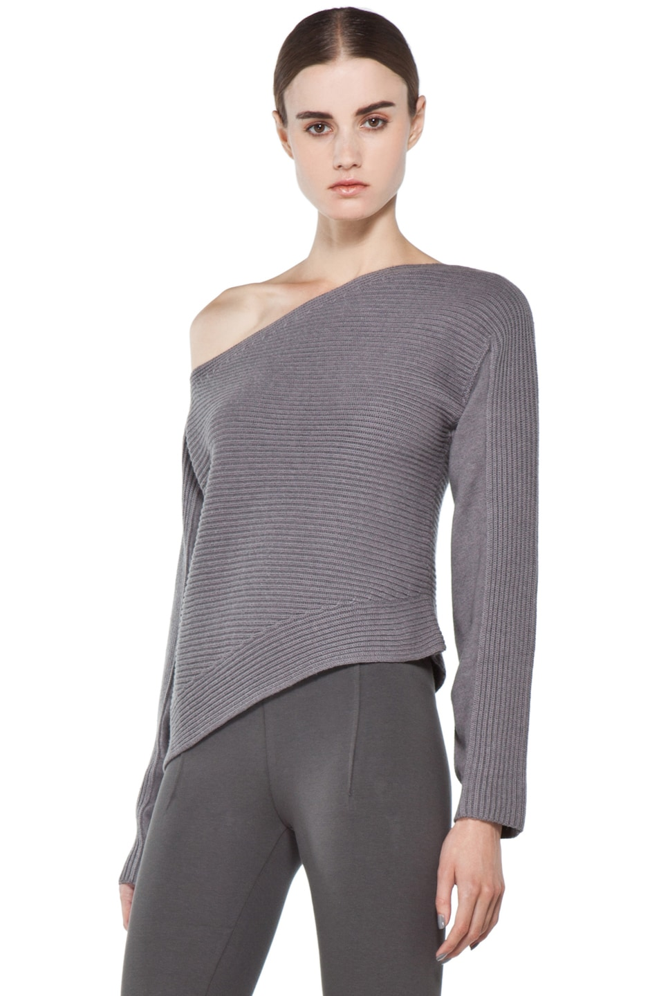 Image 2 of Alexander Wang Patchwork Stitch Asymmetrical Crop Top in Concrete