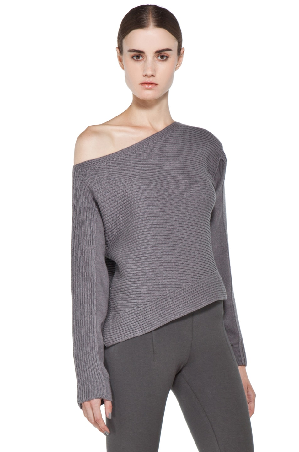 Image 3 of Alexander Wang Patchwork Stitch Asymmetrical Crop Top in Concrete