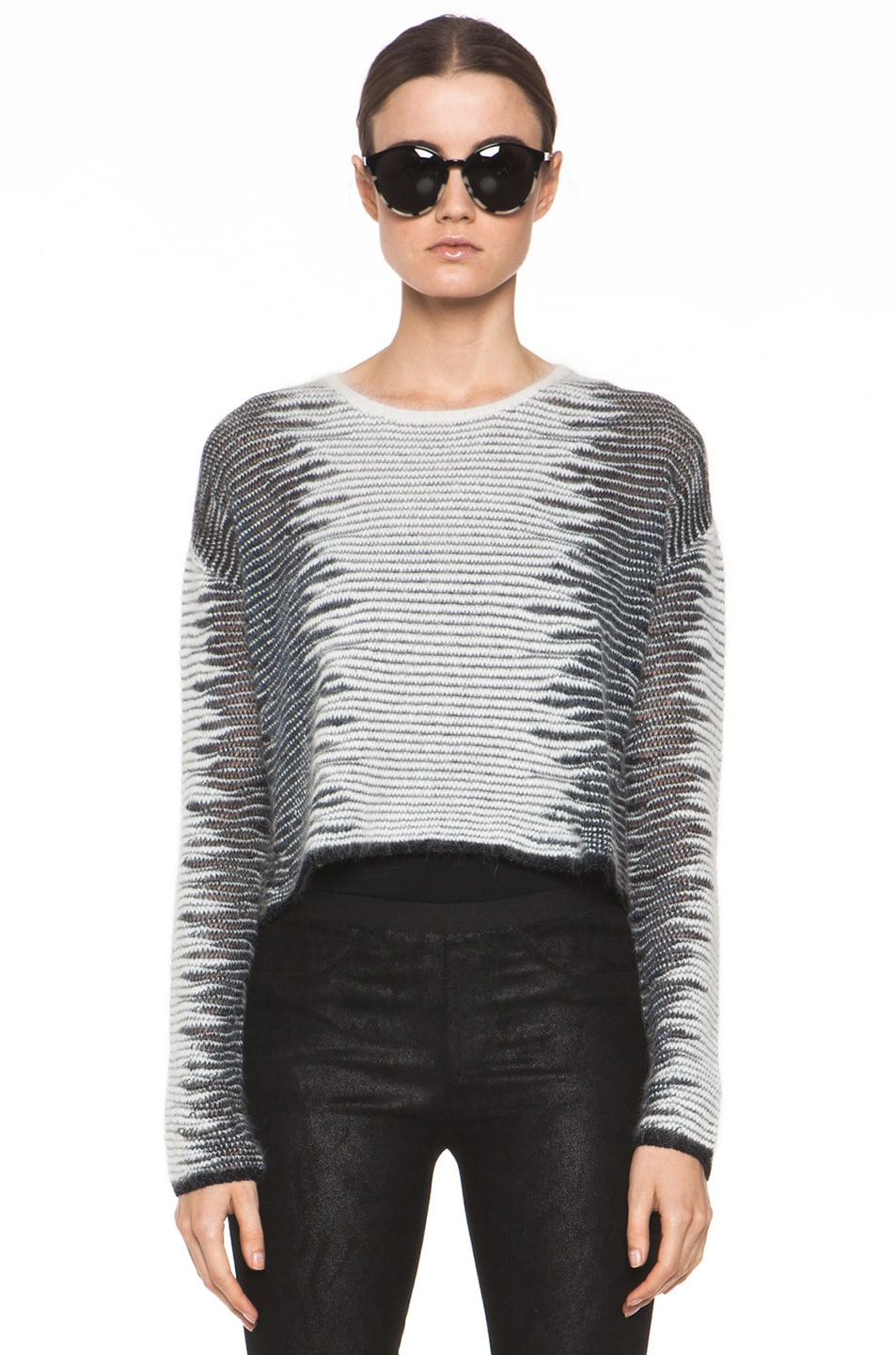 Image 1 of Alexander Wang Metallic Frayed Long Sleeve Tunic in White