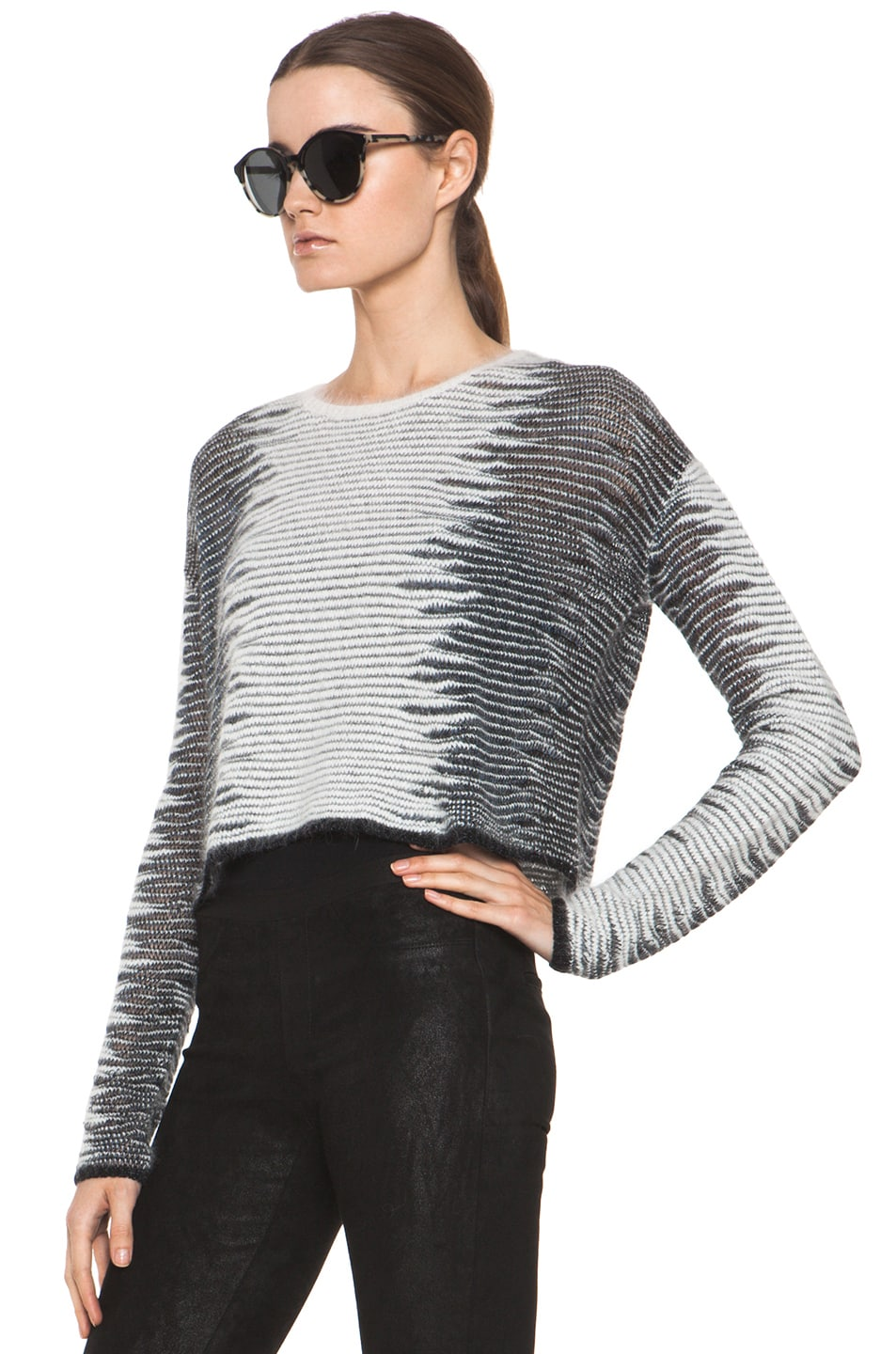 Image 2 of Alexander Wang Metallic Frayed Long Sleeve Tunic in White