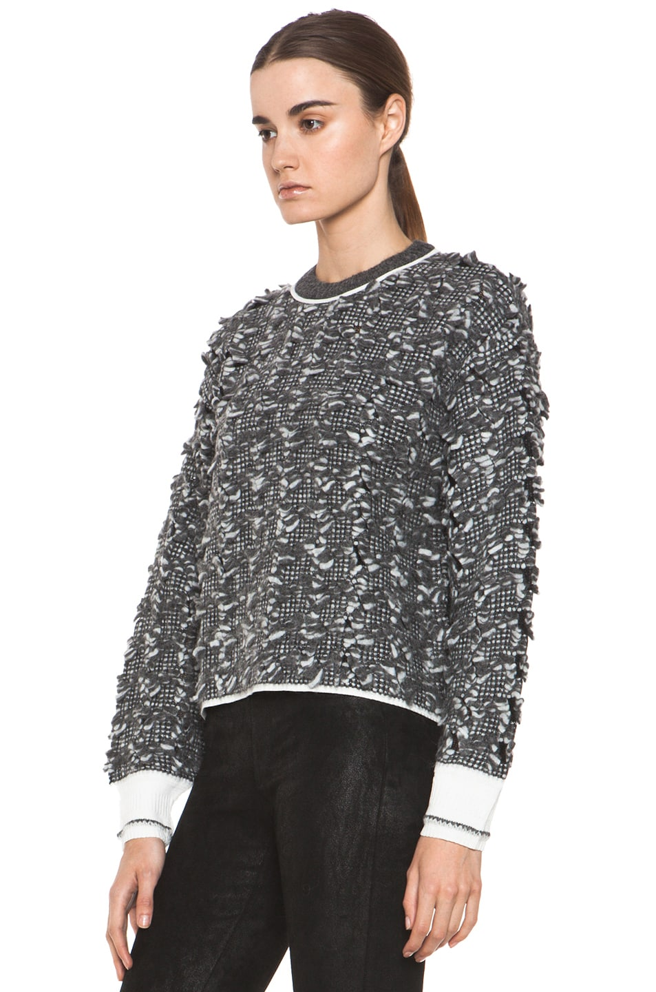 Image 2 of Alexander Wang Frayed Tween Long Sleeve Pullover in Charcoal