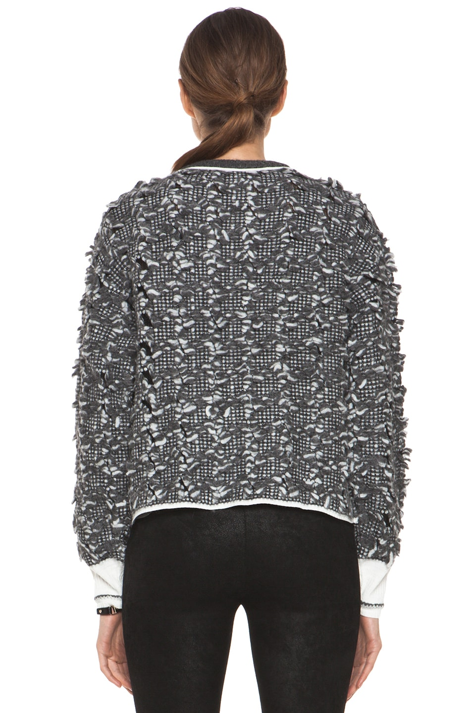 Image 4 of Alexander Wang Frayed Tween Long Sleeve Pullover in Charcoal