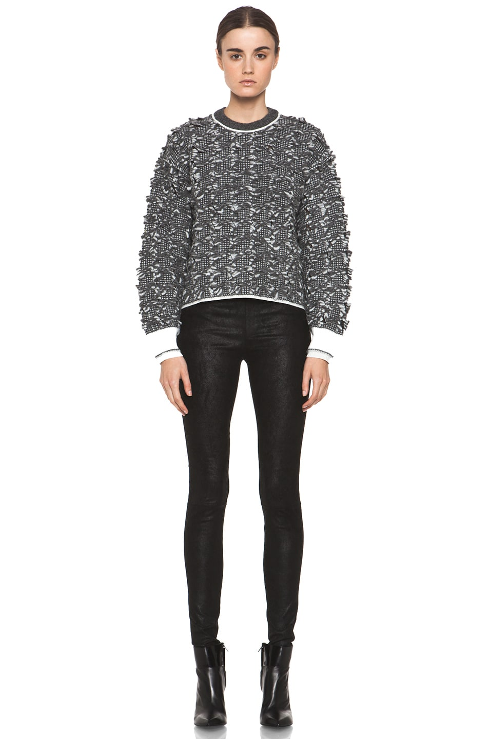 Image 5 of Alexander Wang Frayed Tween Long Sleeve Pullover in Charcoal