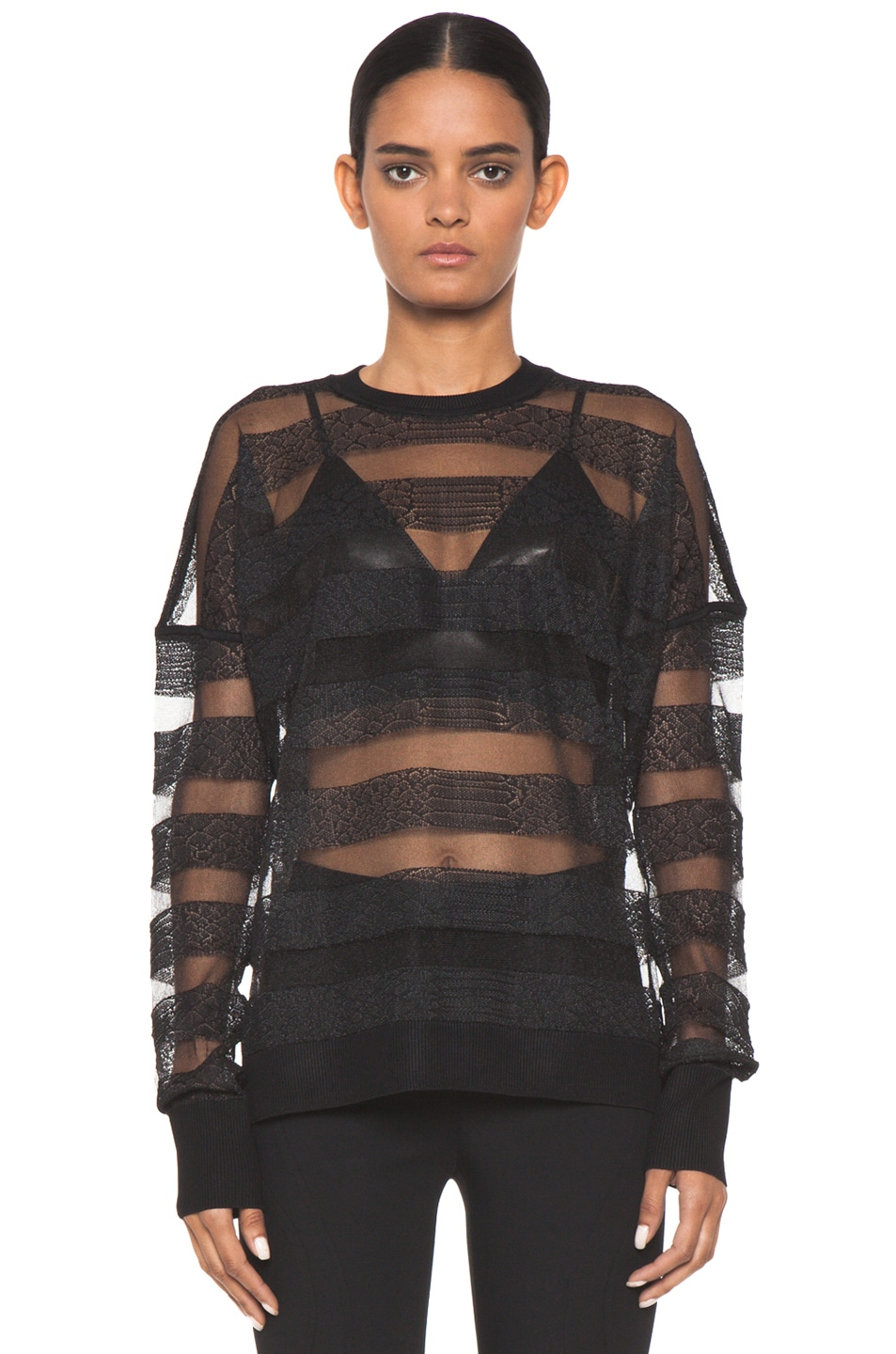 Image 1 of Alexander Wang Snakeskin Long Sleeve Pullover in Onyx