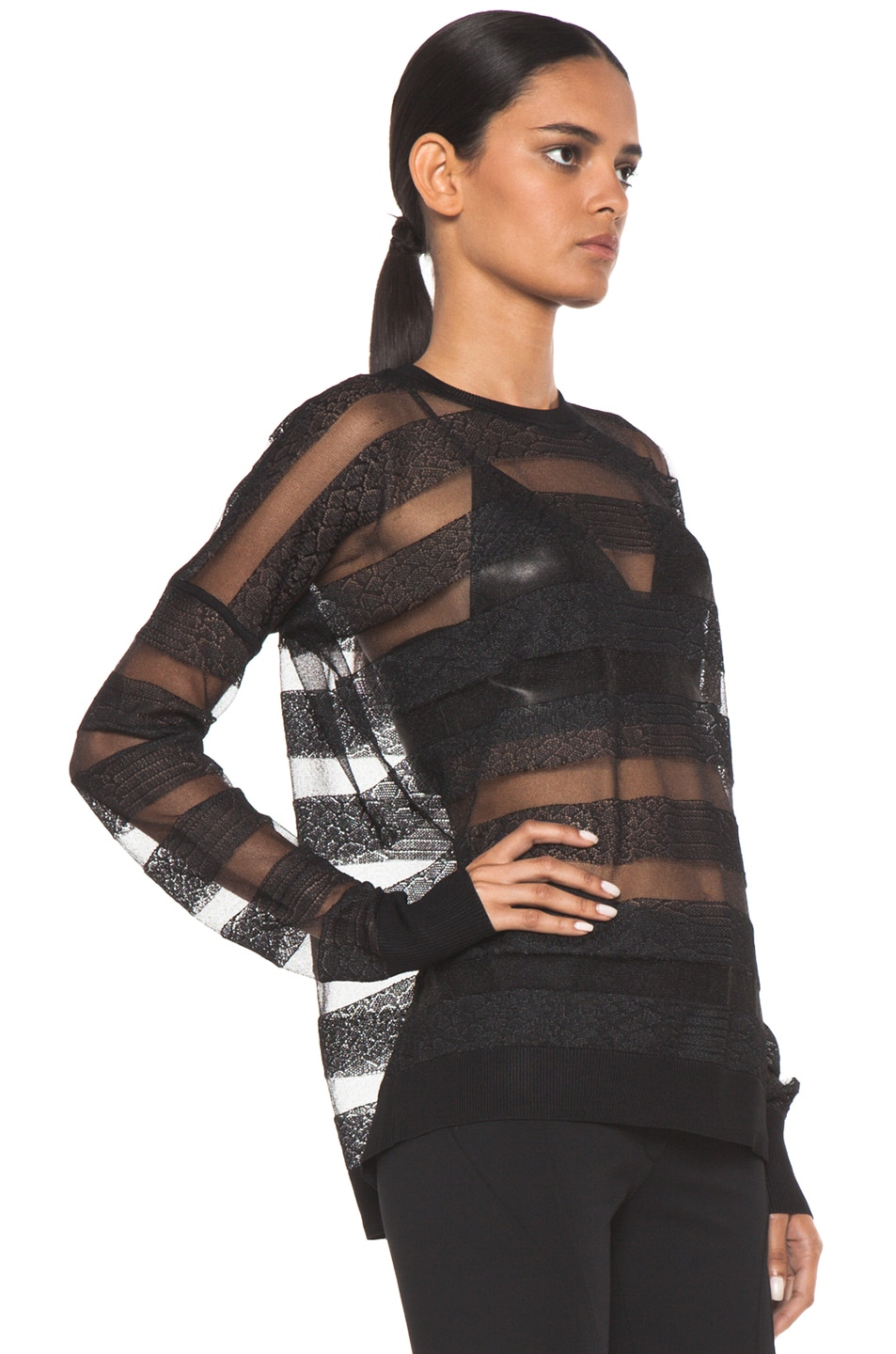 Image 3 of Alexander Wang Snakeskin Long Sleeve Pullover in Onyx