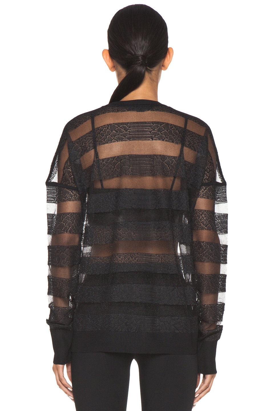 Image 4 of Alexander Wang Snakeskin Long Sleeve Pullover in Onyx